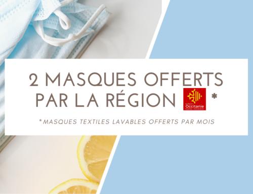 La Région offre 2 masques par mois à chaque apprenti.e!
