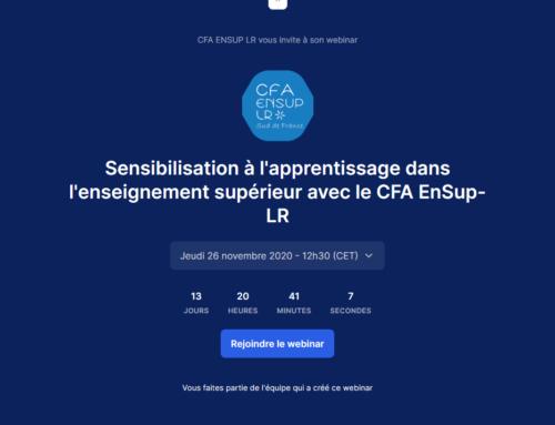 Webinaire de présentation de l'apprentissage avec le CFA EnSup-LR