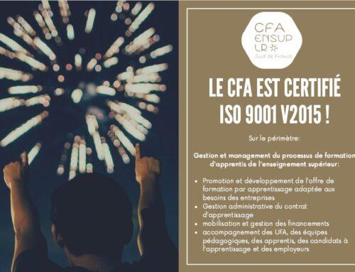 Le CFA EnSup LR est certifié ISO 9001